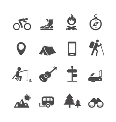 Icons forest camping set with compass vector