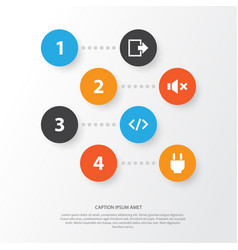 Interface icons set collection of tag exit vector