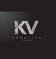 Kv k v letter logo with zebra lines texture vector