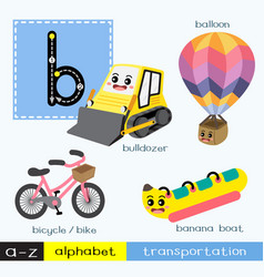 Letter b lowercase tracing transportations vector