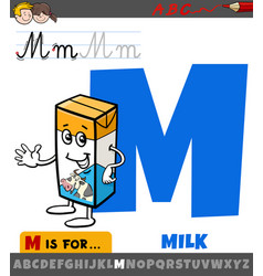 Letter m from alphabet with cartoon milk box vector