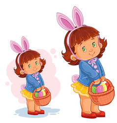 Little girl with bunny ears and a basket vector