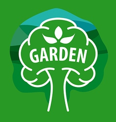 Logo tree for the garden on a green background vector