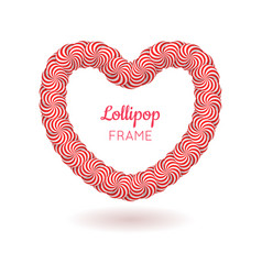 Lollipop red heart frame vector
