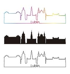Lublin skyline linear style with rainbow vector image
