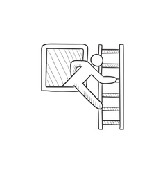 Man leaving building through window sketch icon vector image