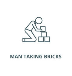 Man taking bricks line icon linear concept vector