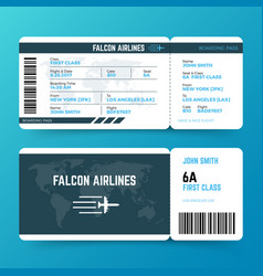 Modern airline travel boarding pass ticket vector