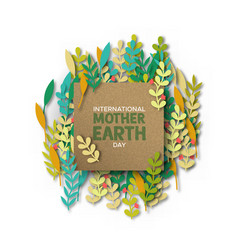 Mother earth day card recycled paper cut leaves vector