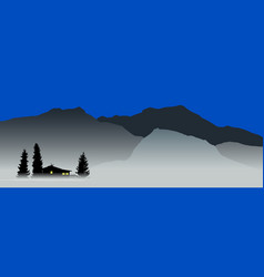 mountain view with a lonely house vector image