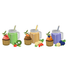 Muffins and smoothie drinks set collection vector