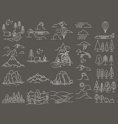 Nature line icon landscapes vector
