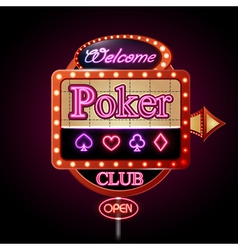 Neon sign Poker club vector image