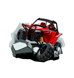 Off-road atv buggy rides in the mountains on the vector