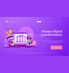 Open banking platform landing page template vector
