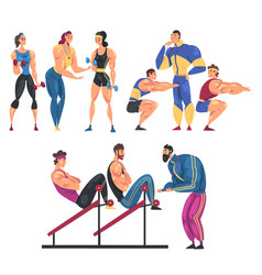 people training in gym set men and women doing vector image
