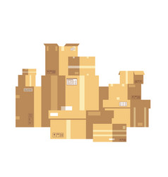 pile sealed goods cardboard boxes mail box vector image