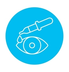 Pipette and eye line icon vector image