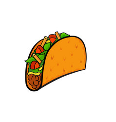 Pop art style taco sticker vector