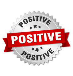 positive round isolated silver badge vector image