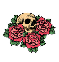 rose tattoo with skull roses isolated vector image