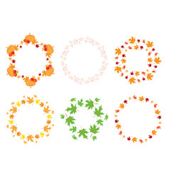 round frames with maple leaves and pumpkins vector image