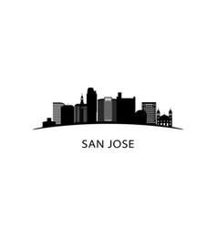 san jose california city skyline black cityscape vector image