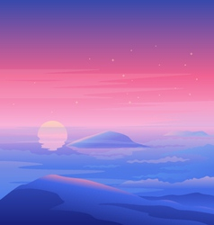 Sea sunset landscape vector