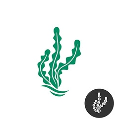 Seaweed logo template One black color monochrome vector