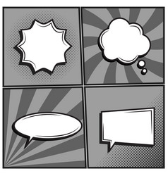 set of empty template comic text speech bubbles vector image
