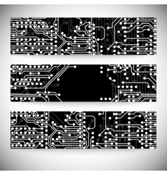 Set of horizontal banners Microchip background vector image