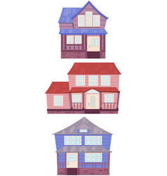 Set of wooden houses of the american suburbs vector