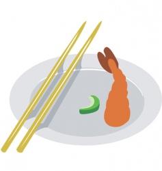 shrimp and chopstick vector image