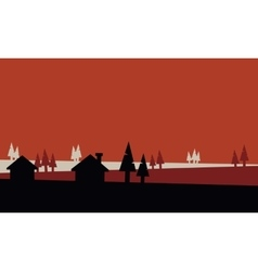 Silhouette of small house and spruce vector image