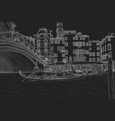 Sketch of venice grand canal and gondoliers vector