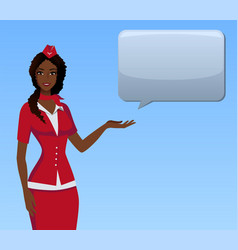 stewardess in red uniform flying attendants air vector image