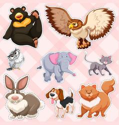 sticker design for wild animals on pink background vector image