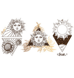 Sun a set of outline with sketches of tattoos vector