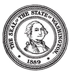The seal of the state of washington 1889 vintage vector