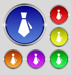 Tie icon sign Round symbol on bright colourful vector