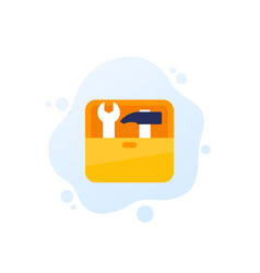 Toolbox icon with tools in box vector