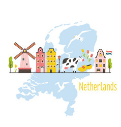 tourist poster card with symbols netherlands vector image