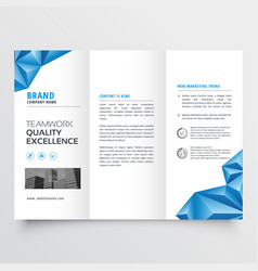 tri-fold brochure flyer design with geometric vector image
