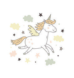 unicorn cute poster vector image