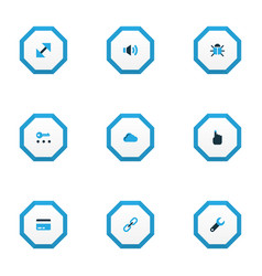 User icons colored set with payment hand link vector