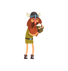 viking cartoon character holding tankard of ale vector image