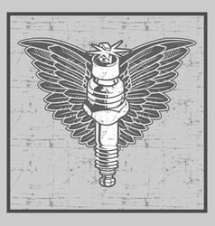 vintage grunge style spark plug with wing vector image
