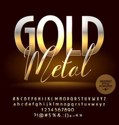 warm gold reflective set of alphabet letter vector image