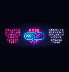 wifi neon sign wifi text design template vector image