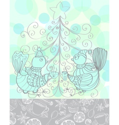 Winter holiday background with cute birds vector image